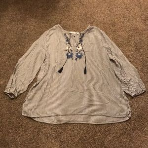 Old Navy Embroidered Striped Tunic Shirt Size XL